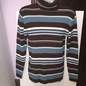 Rafaella brown & blue ribbed turtleneck sweater. M